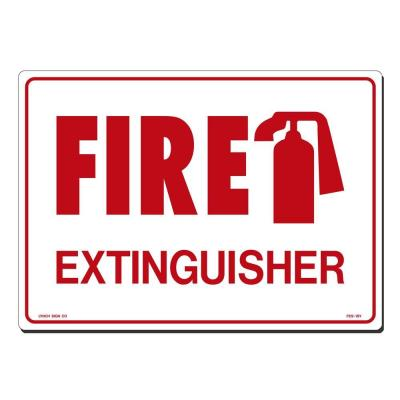 14 in. x 10 in. Red on White Plastic Fire Extinguisher