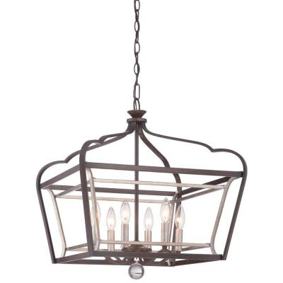 Astrapia 6-Light Dark Rubbed Sienna with Aged Silver Pendant Product Photo