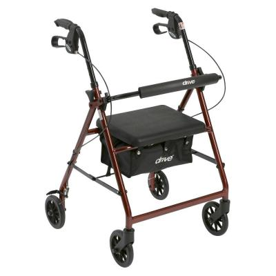 4-Wheel Rollator Walker with Removable Folding Back Support and Padded Seat