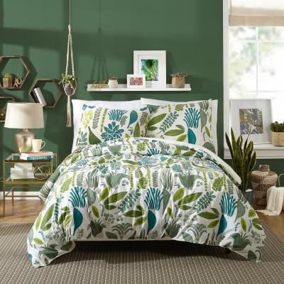 Jardin 3-Piece Green Cotton Duvet Set By Justina Blankeney