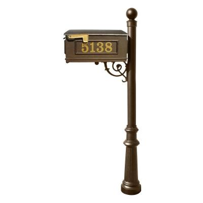 Lewiston Mailbox Collection with Decorative Ball Finial and Fluted Base in Bronze Product Photo