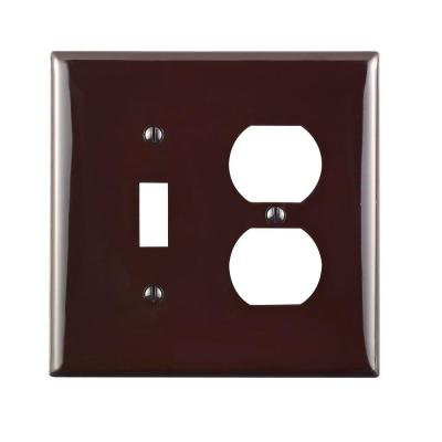 2-Gang Midway 1 Toggle 1 Duplex Combination Nylon Wall Plate, Brown