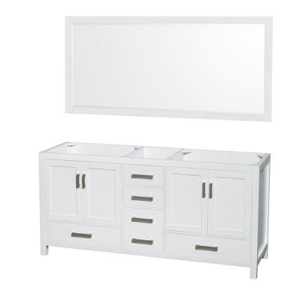 Wyndham Collection Sheffield 72 in. Double Vanity Cabinet with 70 in. Mirror in White