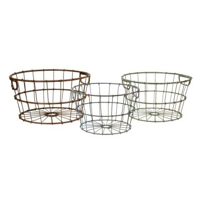 Lenor 10 in. x 8.5 in. Multi-Colored Wrought Iron Basket (Set