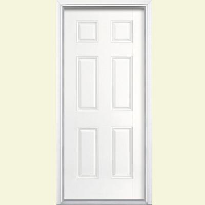 Masonite 36 in. x 80 in. 6-Panel Painted Smooth Fiberglass Prehung Front Door with Brickmold