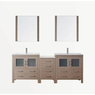 Dior 82 in. Double Vanity in Dark Oak with Ceramic Vanity Top in White and Mirrors