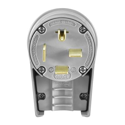 50 Amp 250-Volt 15-30 Industrial Power Plug - Gray Product Photo
