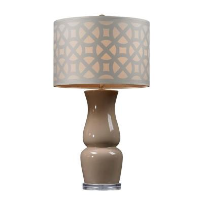 Gloss Ceramic 27 in. Taupe Table Lamp with Off White Shade
