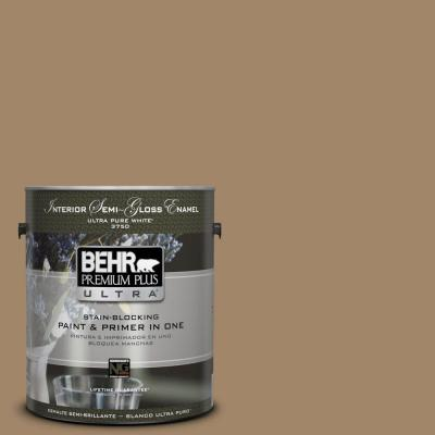 BEHR Premium Plus Ultra Home Decorators Collection 1-gal. #HDC-NT-28 Soft Bronze Semi-Gloss Enamel Interior Paint
