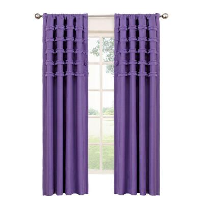 Ruffle Batiste Blackout Purple Polyester Rod Pocket Curtain, 84 in. Length