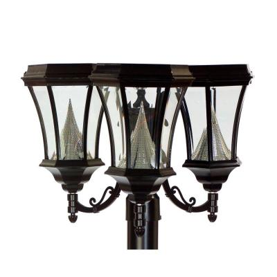 Gama Sonic 15 in. Victorian Outdoor Black 6 LED Solar Lamp with 3 in. Fitter Mount, Triple Lamp