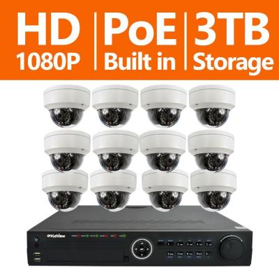 16-Channel Full HD IP Indoor/Outdoor Surveillance 3TB NVR System (12) Dome