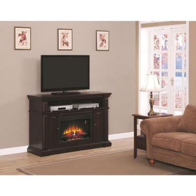 Hampton Bay Chatham 56 in. Media Console Electric Fireplace in Dark Coast Birch