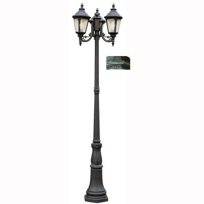 Bel Air Lighting Breeze Way 3-Light Outdoor Swedish Iron Post Lantern with Seeded Glass