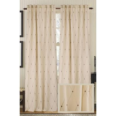 Wheat DIAMOND DOTS Linen and Cotton Rod Pocket Curtain - 50 in.W x 108 in. L Product Photo