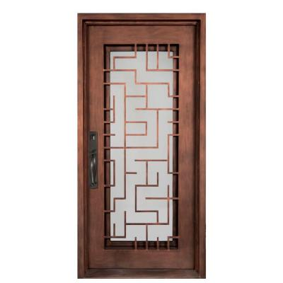 40 in. x 98 in. Bel Sol Classic Full Lite Painted Bronze Decorative Wrought Iron Prehung Front Door Product Photo