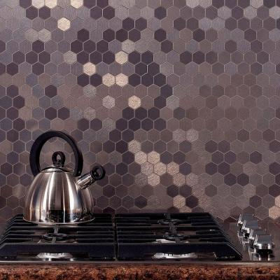 Aspect Honeycomb Matted 4 in. x 12 in. Metal Decorative Tile Backsplash in Brushed Stainless (1 sq. ft.)