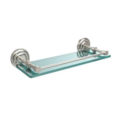 Que New 16 in. W x 16 in. L Tempered Glass Shelf with Gallery Rail in Polished Nickel Product Photo