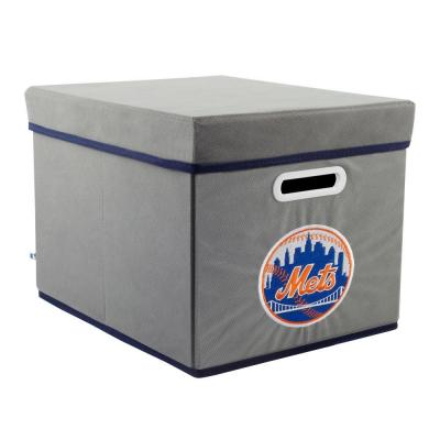 MyOwnersBox MLB STACKITS New York Mets 12 in. x 10 in. x 15 in. Stackable Grey Fabric Storage Cube
