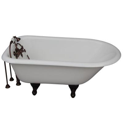 4.5 ft. Cast Iron Ball and Claw Feet Roll Top Tub in White with Oil Rubbed Bronze Accessories Product Photo