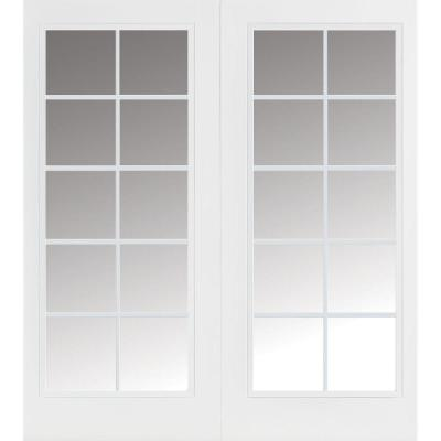 Masonite 60 in. x 80 in. Ultra White Prehung Right-Hand Inswing 10 Lite Steel Patio Door with No Brickmold