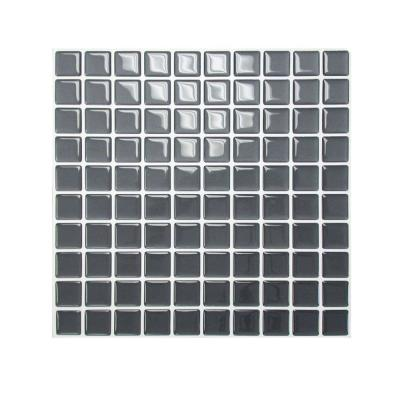 Smart Tiles 9.85 in. x 9.85 in. Peel and Stick Slate Mosaic Decorative Wall Tile in Dark Grey (1-Pack)