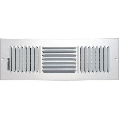 4 in. x 14 in. Ceiling/Sidewall Vent Register, White with 3-Way