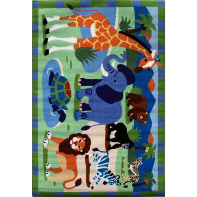 LA Rug Olive Kids Wild Animals Multi Colored 19 in. x 29 in. Area Rug