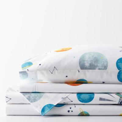 Space Travel Graphic 200-Thread Count Organic Cotton Percale Sheet Set