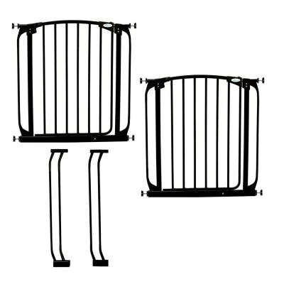 Dreambaby Chelsea 29.5 in. H Auto Close Security Gate in Black Value Pack with 2 Gates and 2 Extensions