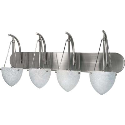Elsa 4-Light Brushed Nickel Bath Vanity Light with Water Spot Glass