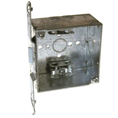 4 in. Square Welded Box, 2-1/8 Deep with Armored Cable/Metal Clad/Flex