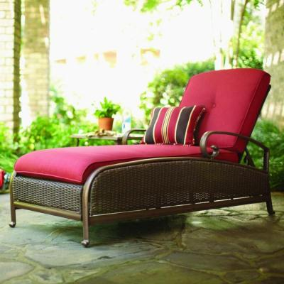 Martha Stewart Living Cedar Island All-Weather Wicker Adjustable Patio Chaise Lounge with Chili Cushion