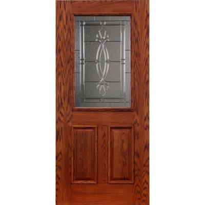 Koch Elite Dual Clad Entry 36 in. x 80 in. Red Oak Prehung Front Door Rometti Zinc 6-9/16 in. Primed Frame Bronze Sill Double Bore-DISCONTINUED
