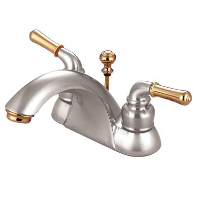 4 in. Centerset 2-Handle Bathroom Faucet in Satin Nickel and Polished