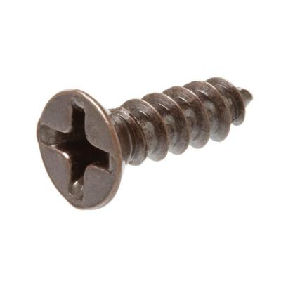 Crown Bolt #6 x 1 in. Bronze Plated Flat-Head Phillips Drive Decor Screw (4-Pieces)