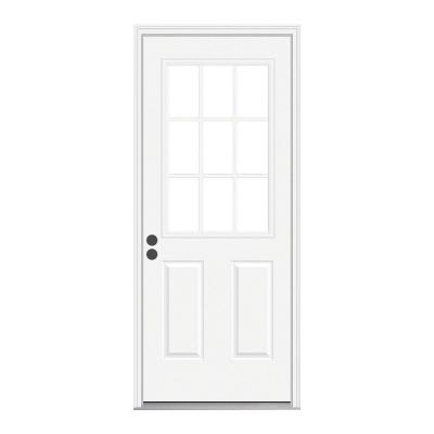 36 in. x 80 in. 9 Lite Primed Fiberglass Prehung Front Door with Brickmould Product Photo