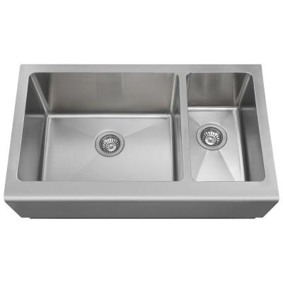 MR Direct Farmhouse Apron Front Stainless Steel 33 in. Double Basin Kitchen Sink