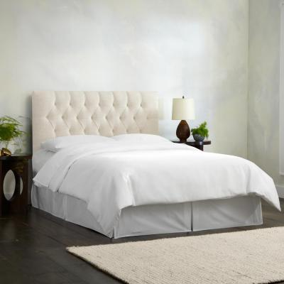 Linen Talc California King Diamond Tufted Headboard