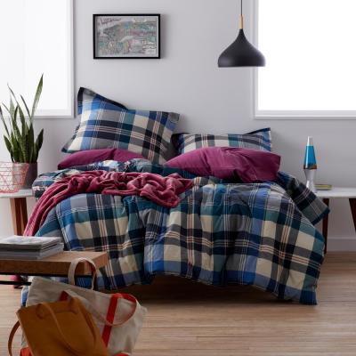 Shawn Plaid Cotton Percale Comforter Set