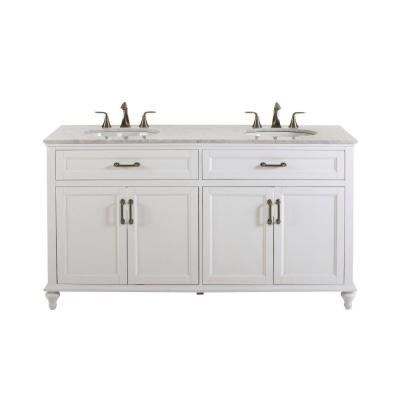39 in h bath vanity in white with marble vanity top in white with