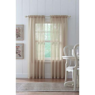 Sand Highline Textured Sheer Rod Pocket Curtain - 52 in. W x 84 in. L Product Photo