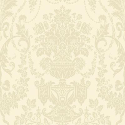 The Wallpaper Company 56 sq. ft. Ivory Damask Wallpaper