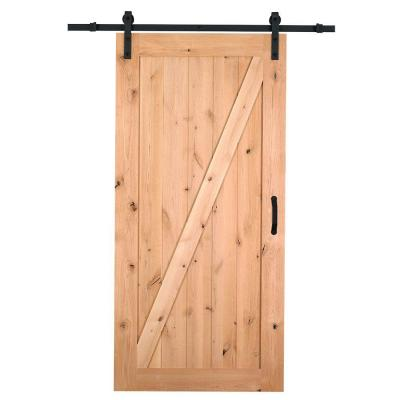 42 in. x 84 in. Z-Bar Knotty Alder Interior Barn Door Slab with Sliding Door Hardware Kit Product Photo