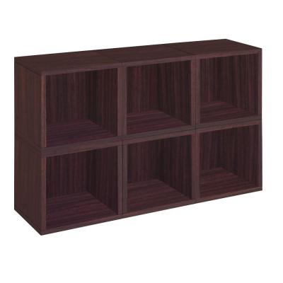 Way Basics zBoard 6-Cubes Eco Modular Cubby Organizer, Tool-Free Assembly Storage in Espresso Wood Grain