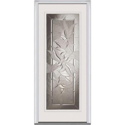 36 in. x 80 in. Lasting Impressions Decorative Glass Full Lite Primed White Steel Prehung Front Door Product Photo