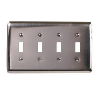 Amerelle Steel 4 Toggle Wall Plate - Pewter