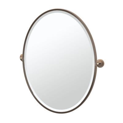 Marina 28.75 in. x 33 in. Framed Single Large Oval Mirror in Bronze Product Photo