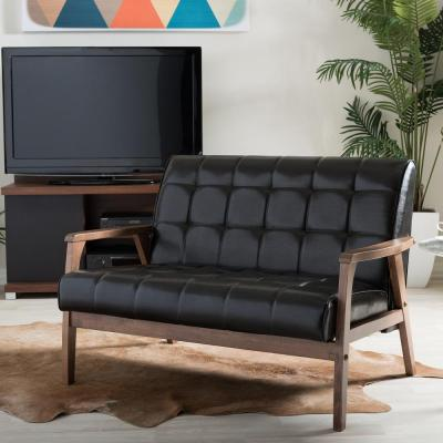 Baxton Studio Masterpiece Mid-Century Dark Brown Faux Leather Upholstered Loveseat