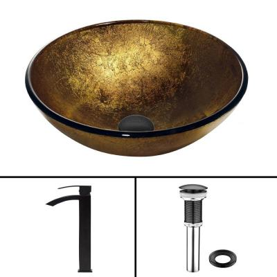 Glass Vessel Sink in Liquid Gold and Duris Faucet Set in